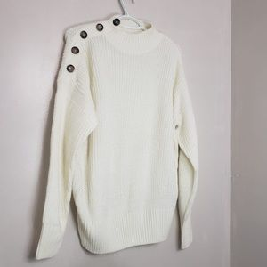 SuzyShier Eggshell Button Cable Knit Loose Sweater